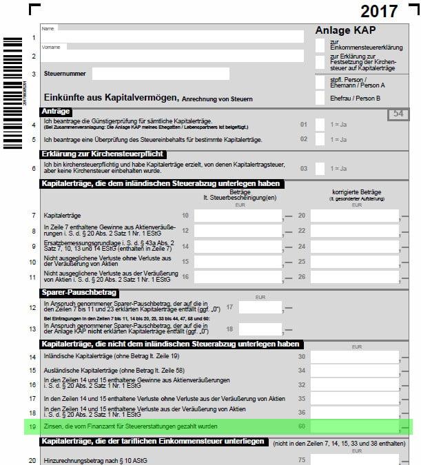 Formular Anlage Kap 2017