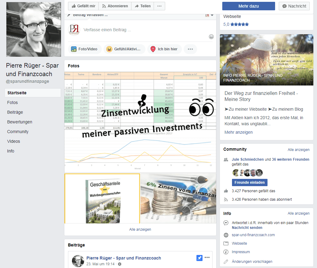 Facebook Fanpage Pierre Rüger