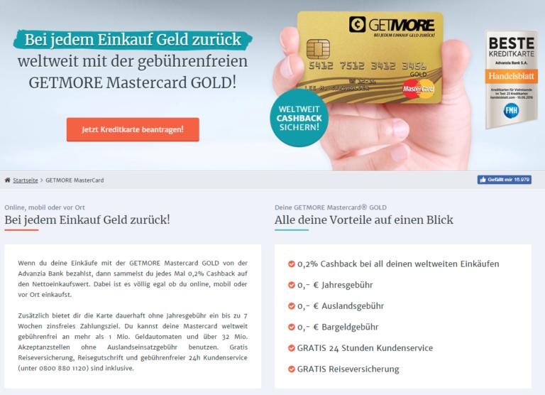 Kostenlose Mastercard Gold von Getmore